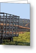 Hay Wagon In Field Greeting Card