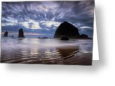 Haystack Rock At Sunset Greeting Card by Andrew Soundarajan
