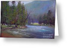 Hazy Day On The Gallatin  Greeting Card by Lori  McNee