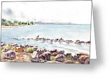 Hazy Morning At Crab Cove In Alameda California Greeting Card