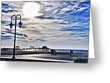 Hdr Beachtown Beach Ocean Sand Pier Sunrise Clouds Relaxation Photography Photos Sale Gallery Buy  Greeting Card by Pictures HDR