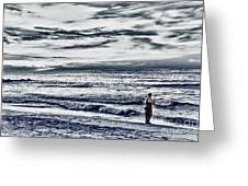 Hdr Black White Color Effect Fisherman Beach Ocean Sea Seascape Landscape Photography Image Photo  Greeting Card