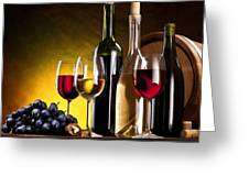 Hdr Style Wine Glasses Bottle Cask And Grapes Greeting Card