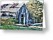Hdr Tin Patch Roof Barn Greeting Card