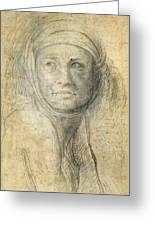 Head Of A Woman Greeting Card by Michelangelo Buonarroti