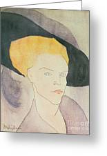 Head Of A Woman Wearing A Hat Greeting Card