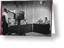 Head Of Production Lowell Cable Cameraman Panel  Kvoa Tv Circa 1955 Color Added 2013 Greeting Card