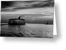 Headed West Black And White Greeting Card