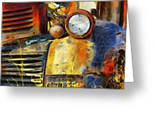 Headlight On A Retired Relic Abstract Greeting Card