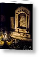 Headstone By Lantern Light Greeting Card