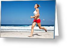 Healthy Woman Running On The Beach Greeting Card by Anna Om