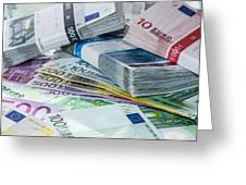 Heap Of Euro Bills Greeting Card by Handmade Pictures
