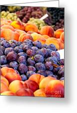 Heap Of Fresh Organic Peaches And Damson Plums  Greeting Card