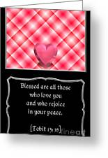 Heart And Love Design 15 With Bible Quote Greeting Card