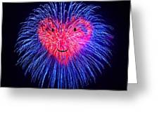 Heart Fireworks Face Greeting Card