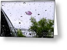 Heart In The Rearview Mirror Greeting Card