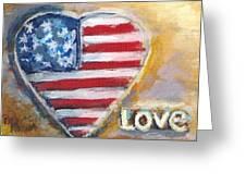 Heart Love Usa Greeting Card