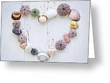 Heart Of Seashells And Rocks Greeting Card