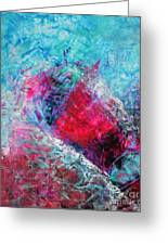 Heart On Ice Abstract Blue Magenta 8x10 Painting Original Contemporary Modern Heart Painting Greeting Card