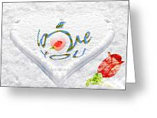 Heart On Snow With Rose Greeting Card