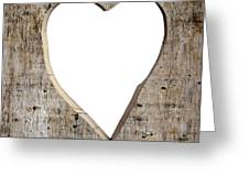 Heart Shape Carved Into A Plank Greeting Card