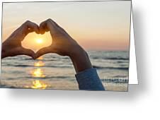 Heart Shaped Hands Framing Ocean Sunset Greeting Card