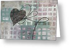 Heart String Abstract- Art  Greeting Card