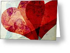 Hearts 5 Square Greeting Card