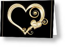 Hearts In Gold And Ivory On Black Greeting Card