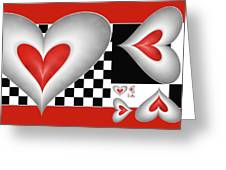 Hearts On A Chessboard Greeting Card