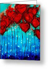 Hearts On Fire - Romantic Art By Sharon Cummings Greeting Card