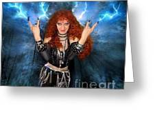 Heavy Metal Fashion. Sofia Metal Queen. Blue Fire Storm. The Power Greeting Card