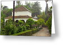 Heavy Rain In Alcazar Gardens Greeting Card