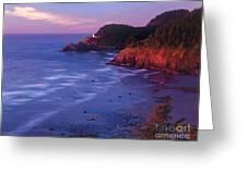 Heceta Head Lighthouse At Sunset Oregon Coast Greeting Card