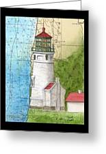 Heceta Head Lighthouse Or Nautical Chart Map Art Cathy Peek Greeting Card
