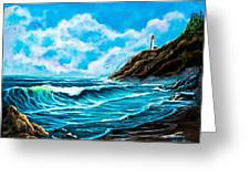 Heceta Head Lighthouse Oregon Coast Original Painting Forsale Greeting Card