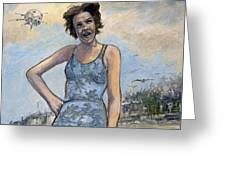 Helen Of Troy Vs Sputnik Greeting Card