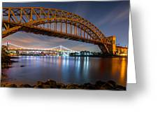 Hell Gate And Triboro Bridge By Night Greeting Card