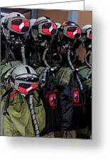 Helmets And Flight Gear Of Hellenic Air Greeting Card