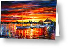 Helsinki Sailboats At Yacht Club Greeting Card by Leonid Afremov