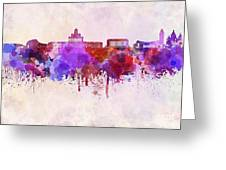 Helsinki Skyline In Watercolor Background Greeting Card