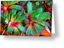 Hen And Chicks  Digital Paint Greeting Card