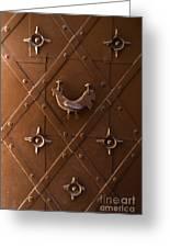 Hen Shaped Doorknob On A Brown Metal Doors Greeting Card