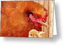 Hen With Chick On Wood Greeting Card