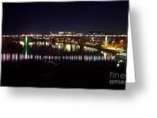 Henley Street Bridge Green And Purple Greeting Card