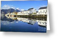 Henningsvaer Harbour Greeting Card