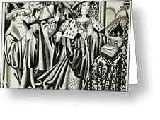 Henry Vi And His Court At  Prayer Greeting Card