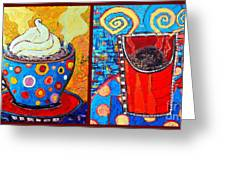 Her And His Coffee Cups Greeting Card