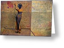 Her Back To The Wall Greeting Card