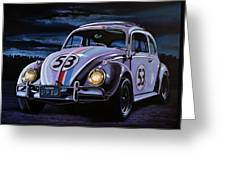 Herbie The Love Bug Painting Greeting Card